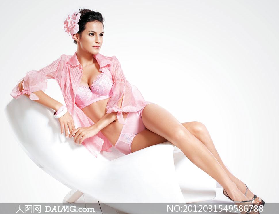 粉色内衣模特美女人物摄影高清图片
