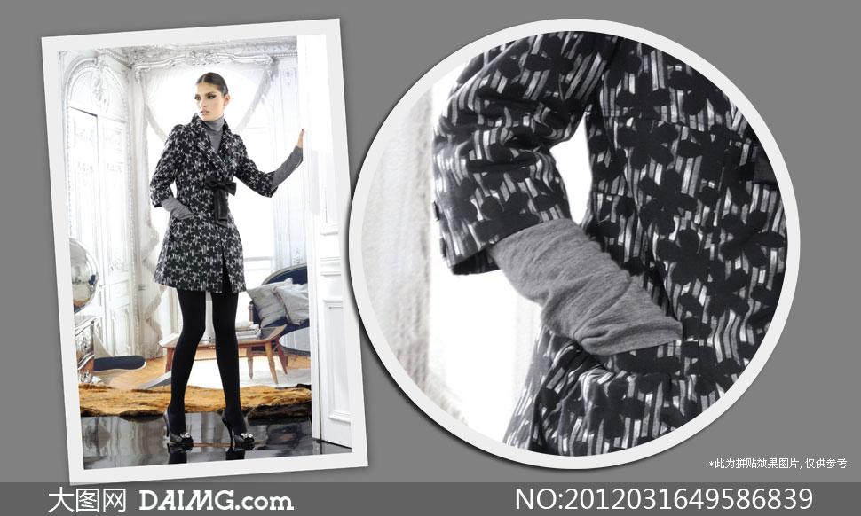 欧式风格房间冬装美女模特摄影高清图片