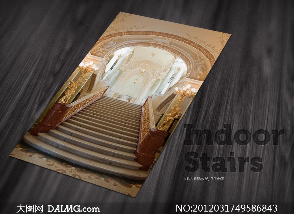 欧式建筑风格室内楼梯扶手高清摄影图片