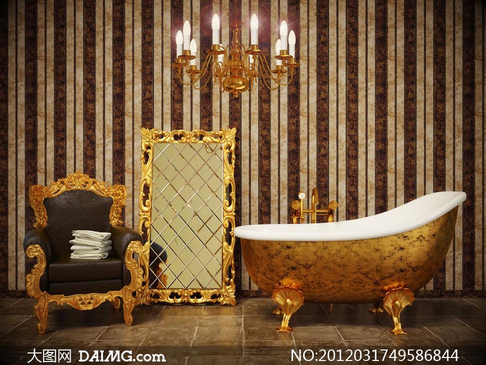 欧式浴缸沙发等室内家具摄影高清图片