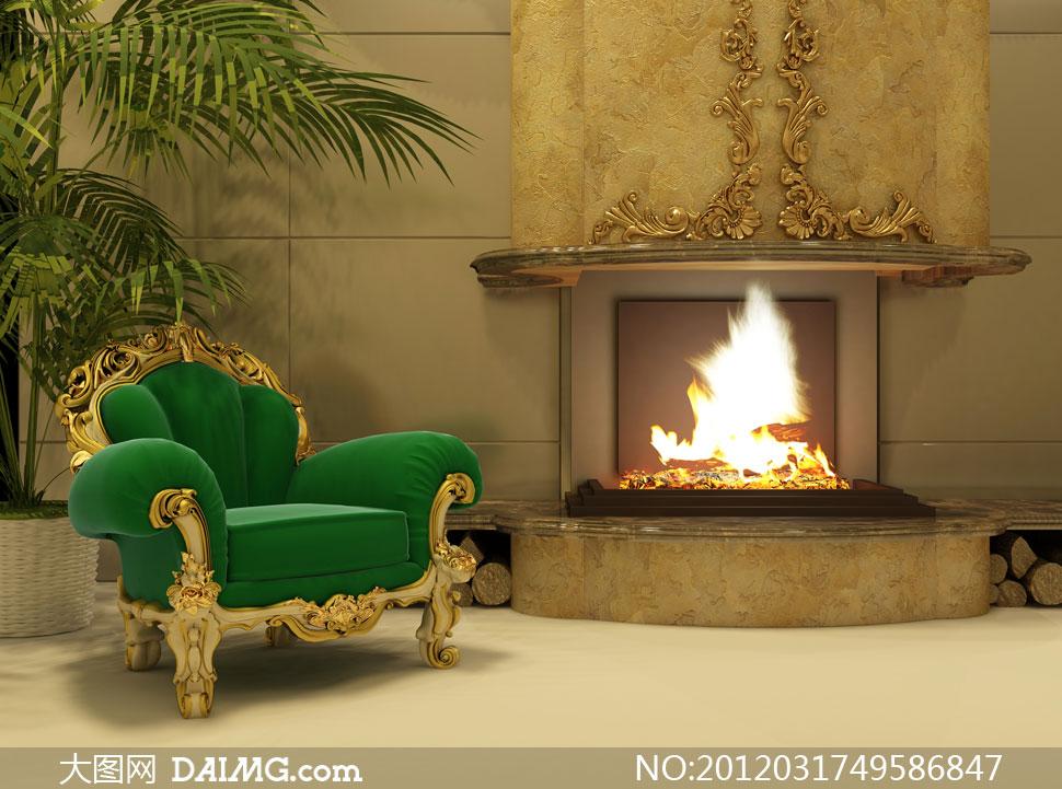 欧式室内沙发火炉渲染效果高清图片图片