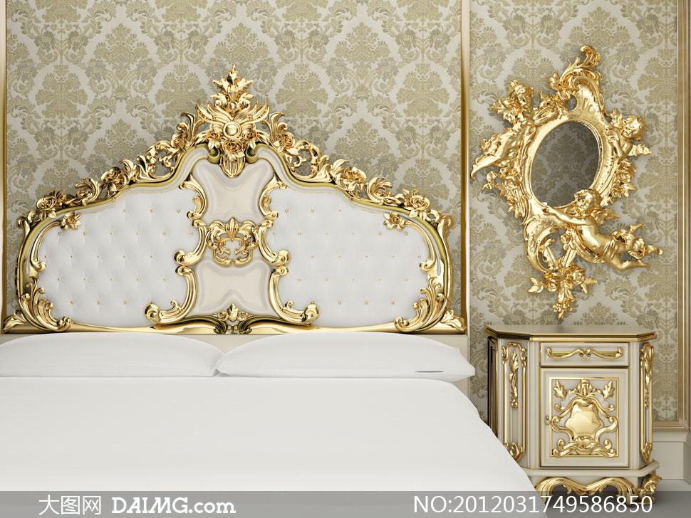 欧式风格卧室布置场景高清摄影图片