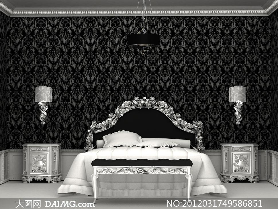 欧式黑白复古风格卧室高清摄影图片