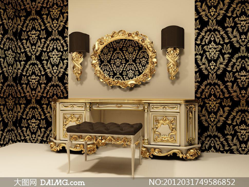欧式金色元素装饰风格家居摄影高清图片