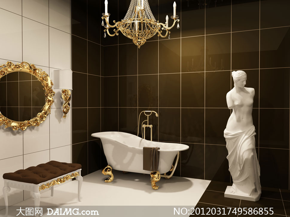 欧式装修风格浴室摄影高清图片