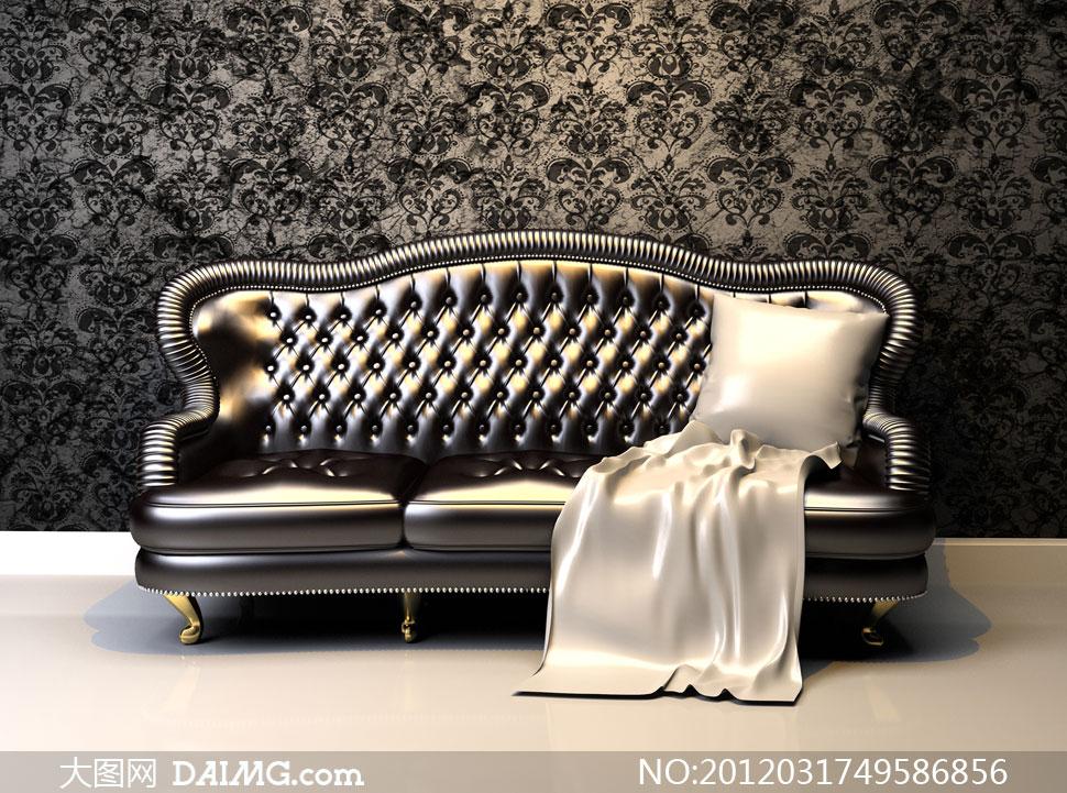 古典怀旧欧式沙发花纹抱枕靠枕室内墙纸壁纸墙壁墙面