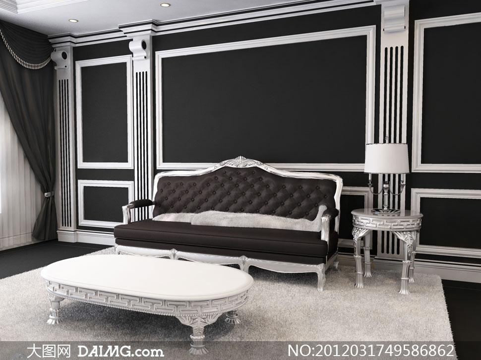 欧式风格客厅家具摆放摄影高清图片