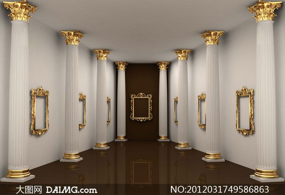 室内装修装饰效果图家装复古古典怀旧欧式金色罗马柱
