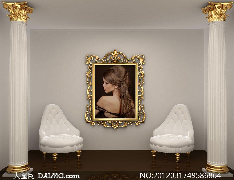 室内装修装饰效果图家装复古古典怀旧欧式金色罗马柱廊柱画框沙发空间