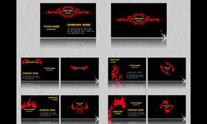 红色火焰名片背景设计PSD素材
