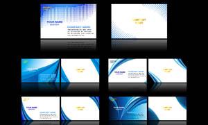 蓝色半调效果名片背景PSD分层素材