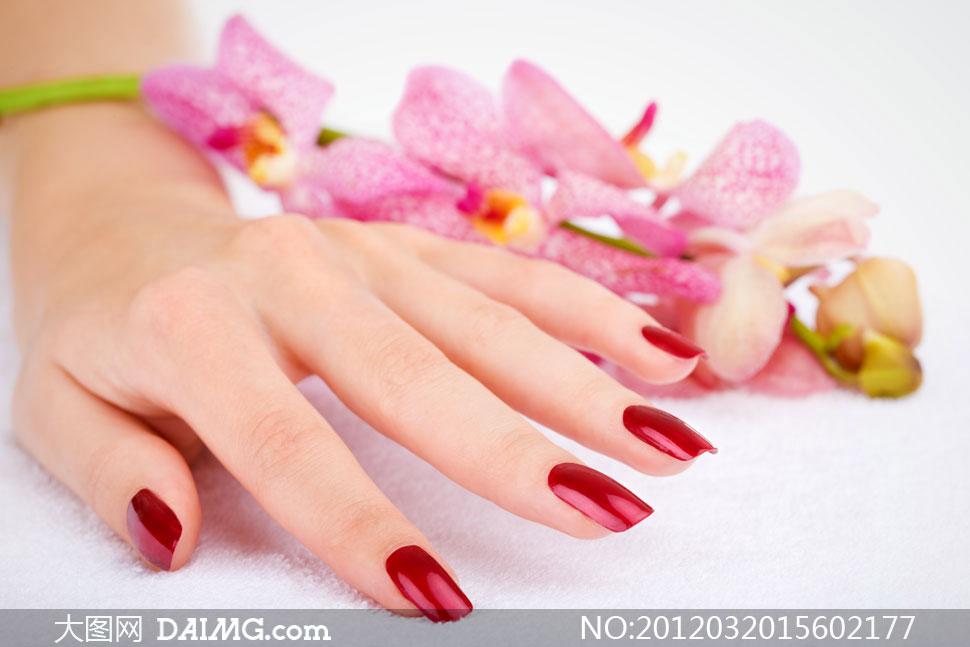 涂着红色指甲油的手指摄影高清图片