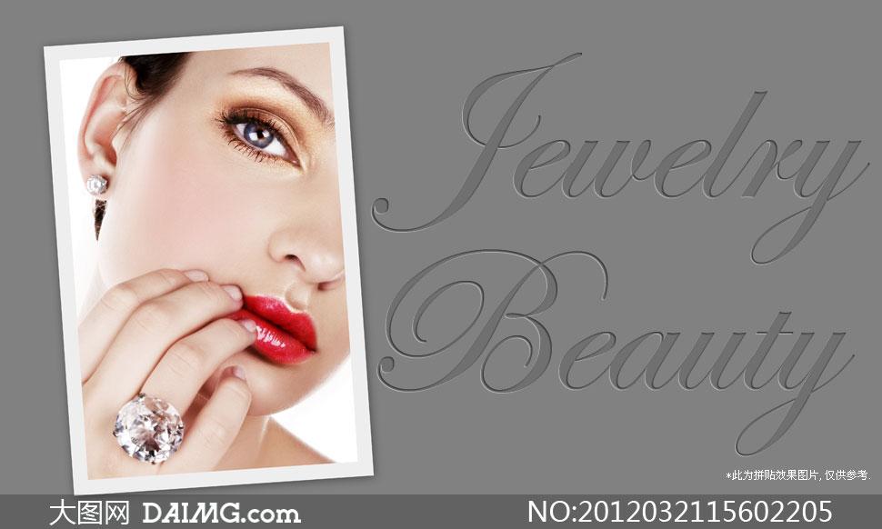 戴着珠宝首饰的美女局部摄影高清图片