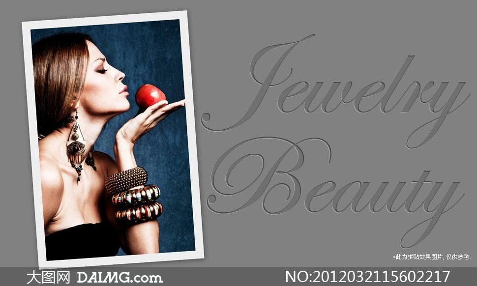 手捧红苹果奢华装饰美女侧面摄影高清图片 大