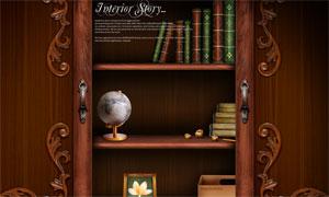 书架上的书本等物品摆放PSD分层素材