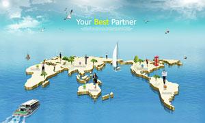 立体世界地图创意设计PSD分层素材
