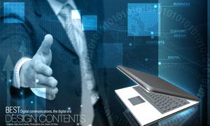 商务人物与笔记本电脑PSD分层素材