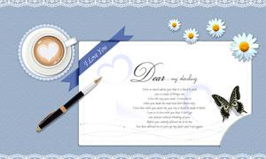 蕾丝花边与花式咖啡卡片PSD分层素材