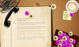 鲜艳花朵与复古怀旧记事本PSD分层素材