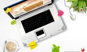 笔记本电脑与咖啡杯子PSD分层素材