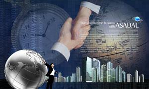 城市建筑物与职场人物地球PSD分层素材