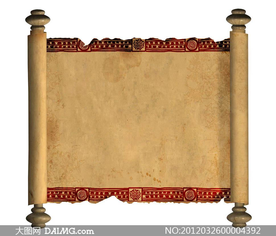 书卷背景图片; 书卷边框素材;; 古典素材