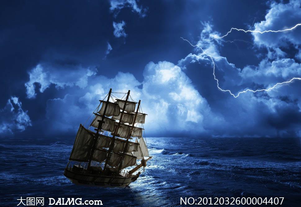大海帆船简笔画彩色