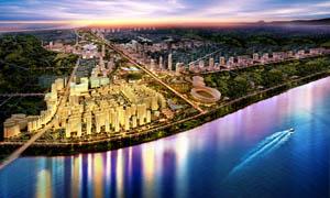 城市建筑远景效果图设计图片素材