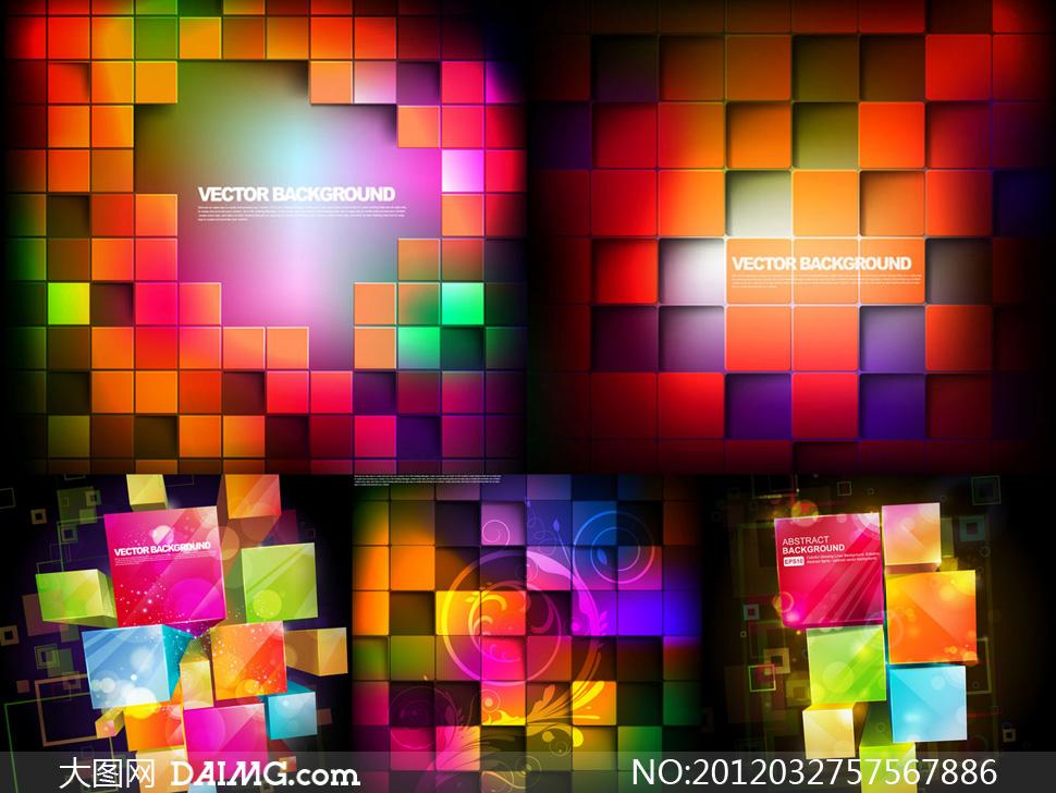 立体格子图案概念背景矢量素材