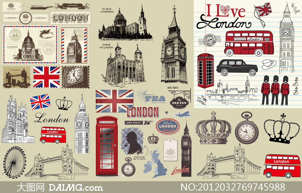 邮票等怀旧复古伦敦主题矢量素材