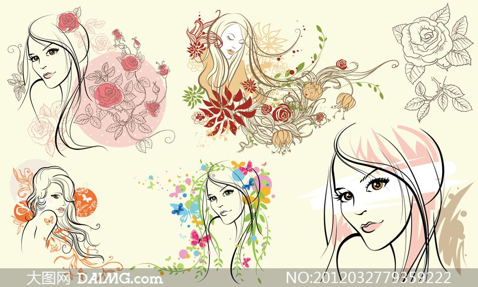 美女素描画与手绘玫瑰花矢量素材