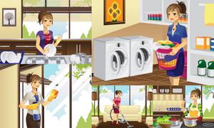 在家做家务的主妇人物矢量素材