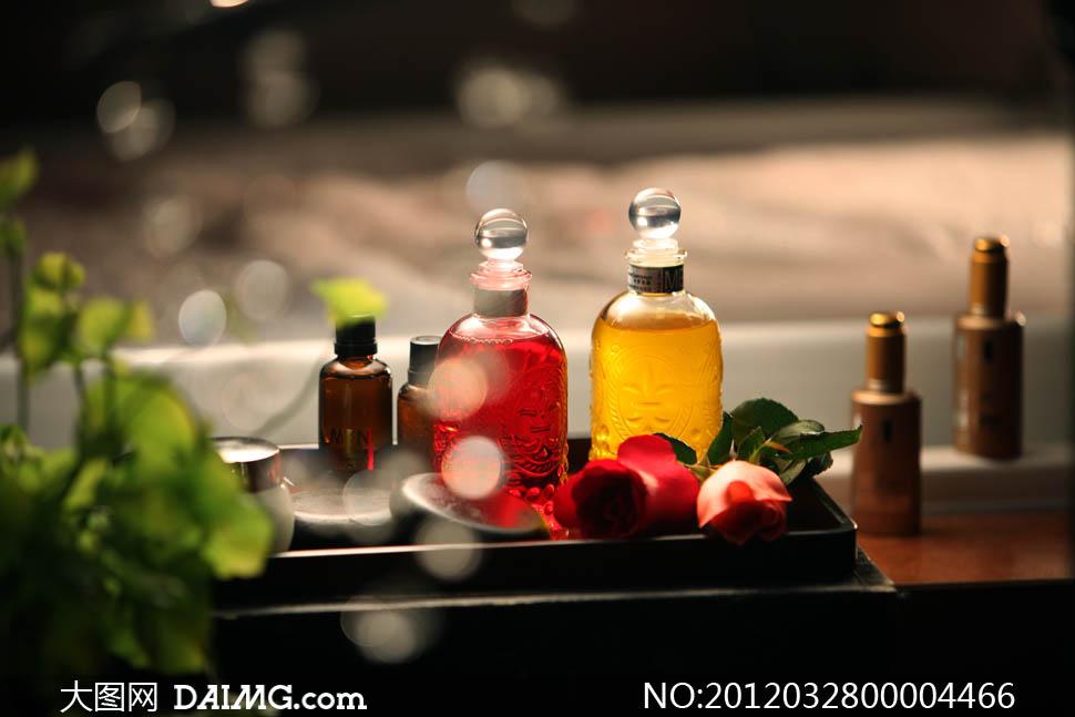 SPA会馆照精油瓶摄影图片