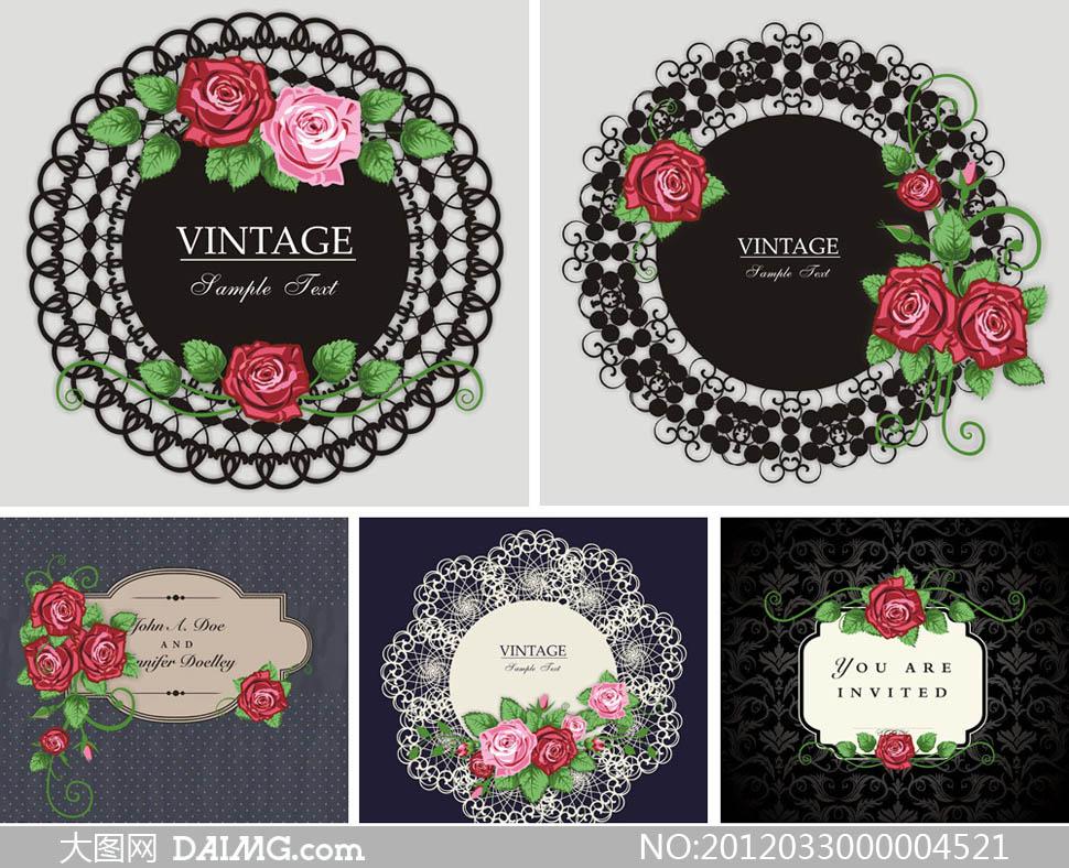 欧式古典花纹花朵边框背景底纹广告背景设计矢量素材
