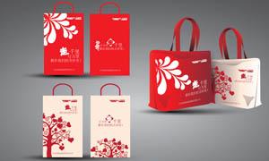 红色时尚手提袋设计矢量素材