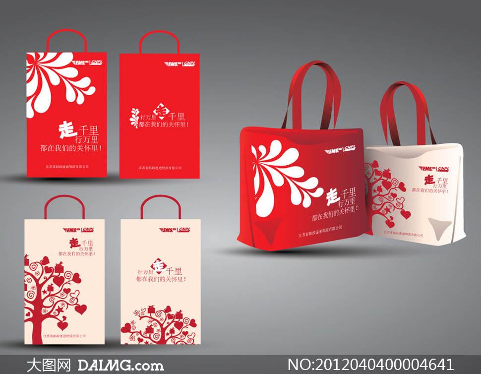 盒可爱手提袋手提袋无纺布红色效果图简约大方中国邮政包装设计广告