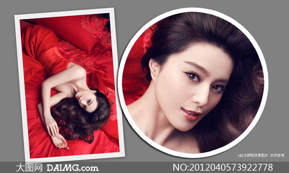 红色喜庆装扮美女人物摄影高清图片