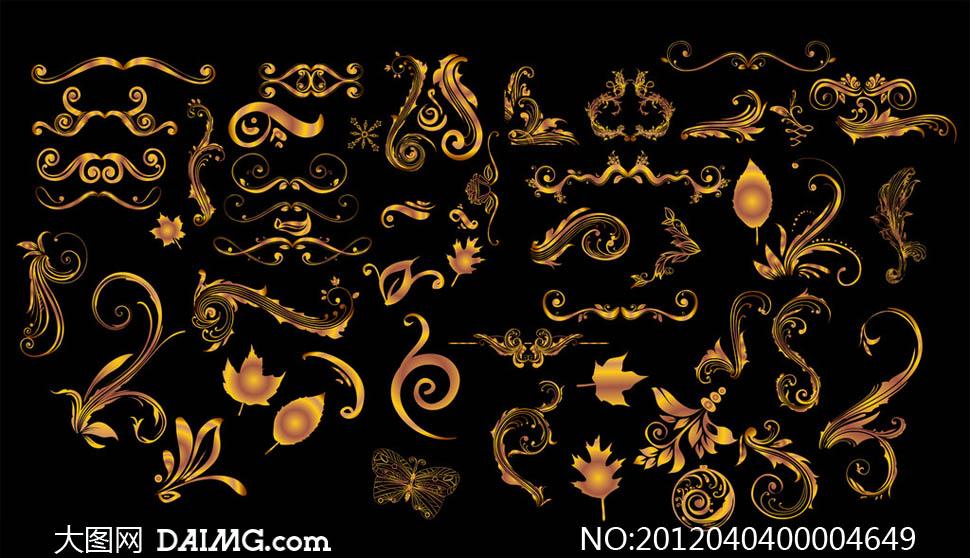 金色手绘花纹设计矢量素材