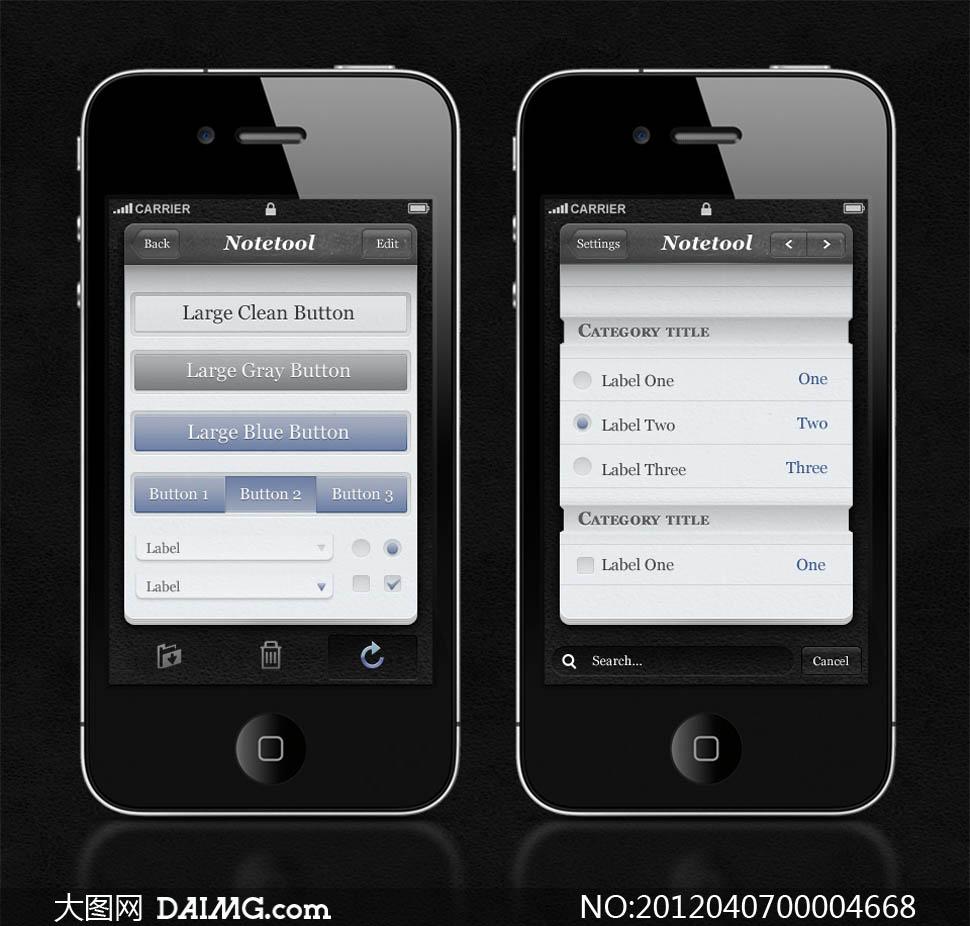 苹果系统界面ui设计模板psd分层素材图片