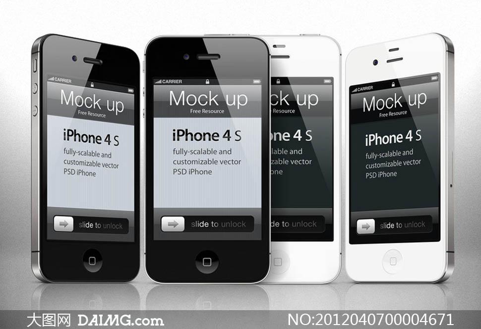 iphone 4s手机设计模板psd分层素材