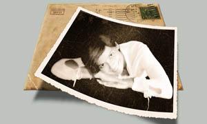 颓废老照片和撕纸边框调色动作