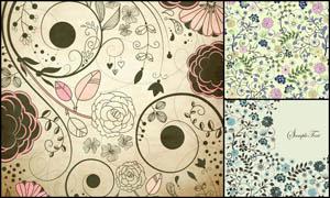 手绘花朵花藤背景设计矢量素材