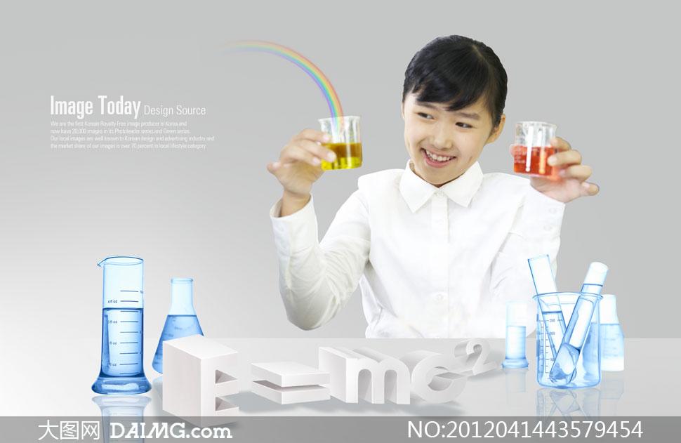 做化学实验的学生人物psd分层素材