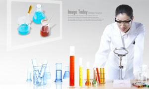 化学实验器具与医生人物PSD分层素材