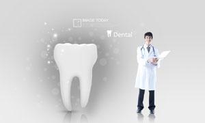 白大褂医生人物与牙齿模型PSD分层素材