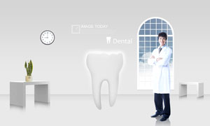 抱着双肩的牙科医生与牙齿PSD分层素材