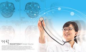 戴着听诊器的美女医生PSD分层素材