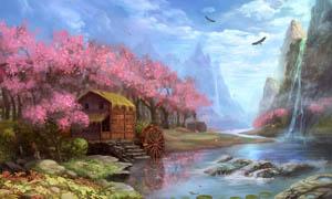 手绘梦幻风景设计图片素材
