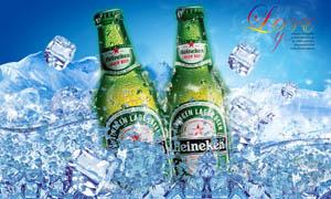 喜力冰啤酒宣传海报设计PSD分层素材