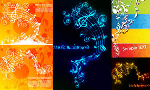 五线谱音乐主题设计矢量素材